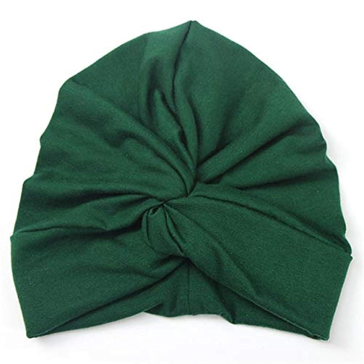 雪ジュニア即席フラワーヘアピンFlowerHairpin YHMベイビーハットコットンソフトターバンノットサマーボヘミアンキッズガールズ新生児キャップ(イエロー) (色 : Green)