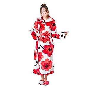 着る毛布 ルームウェア ポンチョ あったかい マイクロファイバー 【MOCOA 2016モデル】 (花柄・赤)