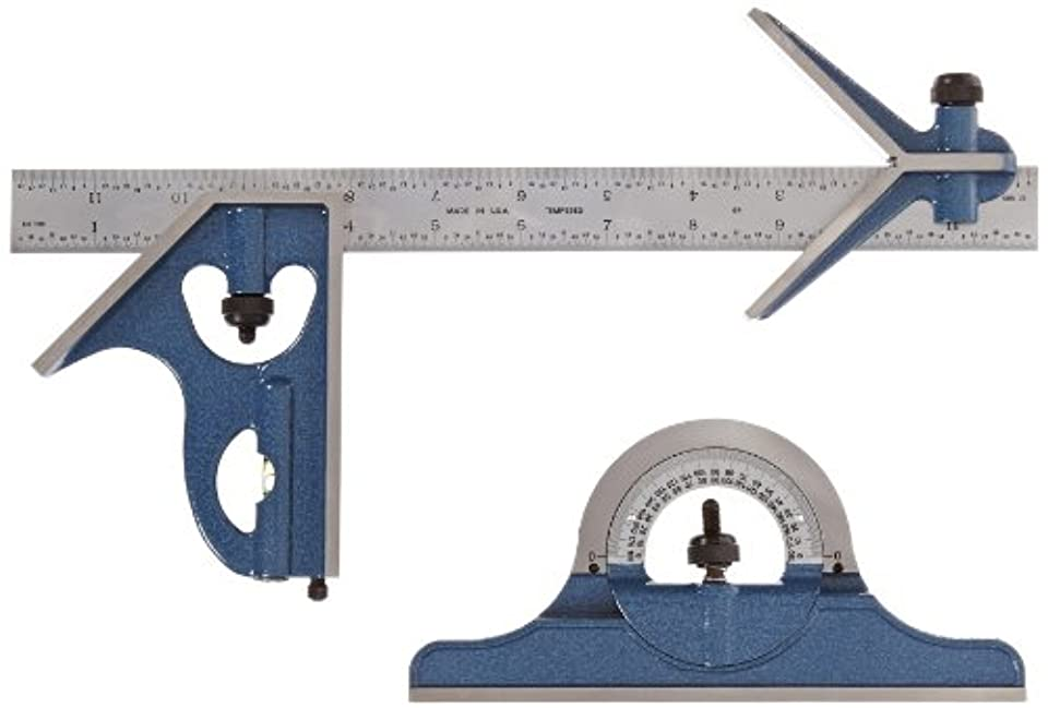 慣性ライター謎Fowler 52-385-012 Steel Combination Square Set Includes with Baked Blue Enamel Finish, 4R Graduation Interval, 12 Length by Fowler