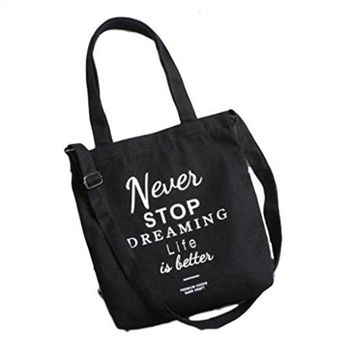 【プラセル】 キャンバス ズック素材 トートバッグ 英字 ロゴ ショルダー ストラップ付き チャック 開閉式 a4 アルファベット 肩掛け ボディーバッグ レディース バッグ カバン 鞄 バック (黒)