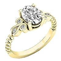 10Kイエローゴールド 8x6mm オーバル型宝石&ラウンドダイヤモンド レディース ユニーク ヴィンテージ 婚約指輪