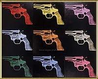 ポスター アンディ ウォーホル Gun c. 1982 (many/rainbow) 額装品 アルミ製ハイグレードフレーム(ゴールド)