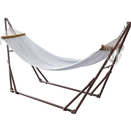 FIELDOOR 自立式 折りたたみハンモック (ダークブラウン×ホワイト) 耐荷重200kg/高さ調節可能/組立て簡単
