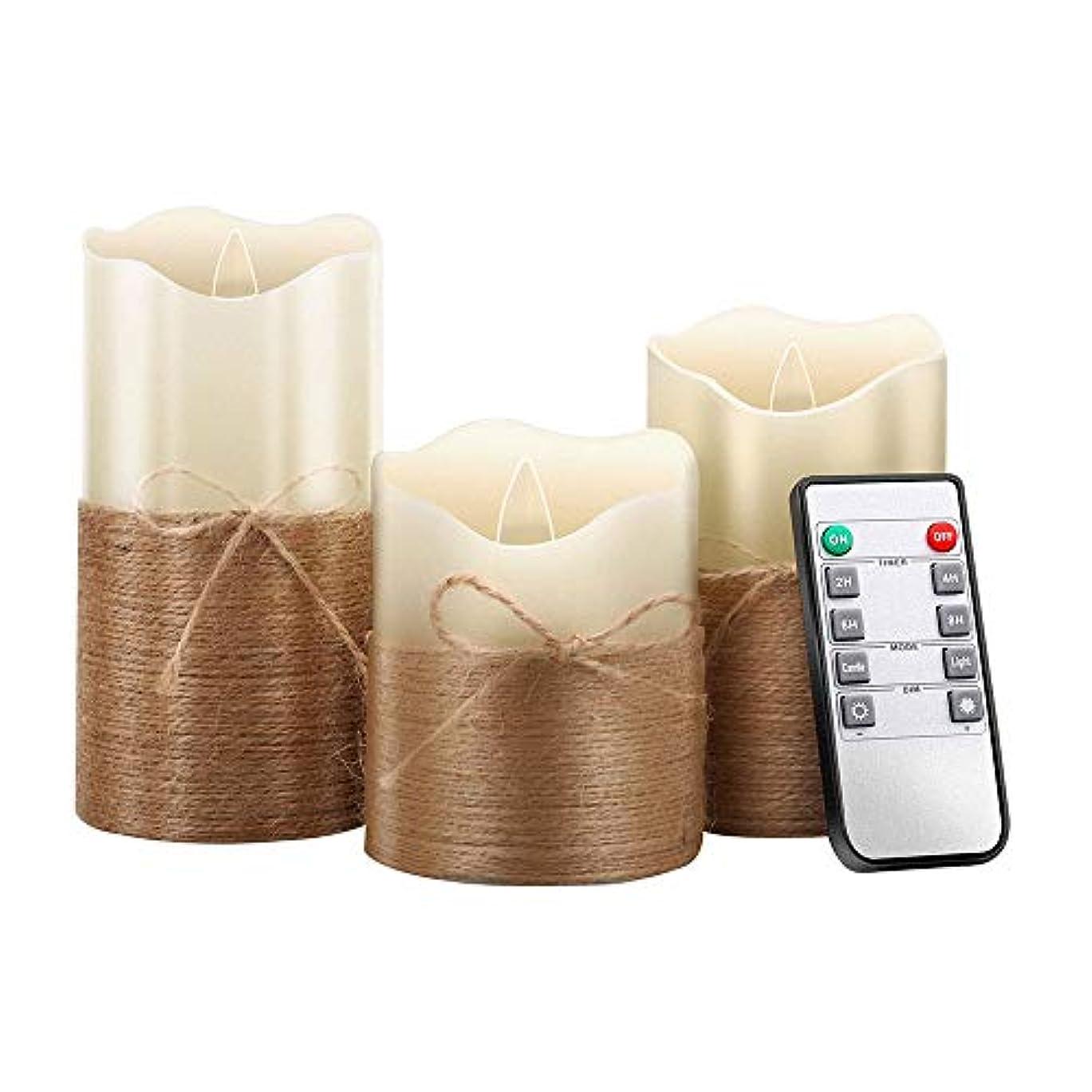 証明する診断する屋内レトロ麻ロープシミュレーションキャンドルLEDスイングウィック電子キャンドル雰囲気装飾キャンドルライト