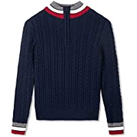 BOBOYOYO Boys Half Zip Pullover Sweater Long Sleeves Stand Collar Striped 100% Cotton Knit Sweater for Kids 5-12Y