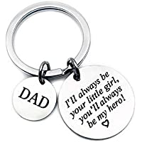 Dad Keyring From Daughter,I'll Always Be Your Little Girl You'll Always Be My Hero Stainless steel Keychain,Birthday Fathers Day Gift Present from Daughter