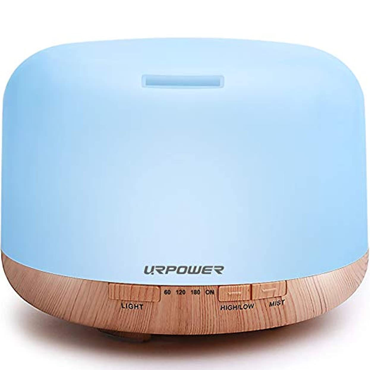 URPOWER アロマセラピー エッセンシャルオイルディフューザー 加湿器 ルームインテリア照明 500ミリリットル 4タイマー設定 7色変化LEDランプ 無水自動遮断 ホワイト OD-501