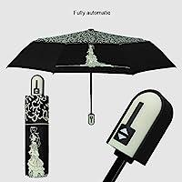 傘結婚式の夢の王女の傘雨の女性の黒のコーティングされた自動マニュアル抗UV太陽傘日傘女の子ロマンチックなパラグアイ自動黒