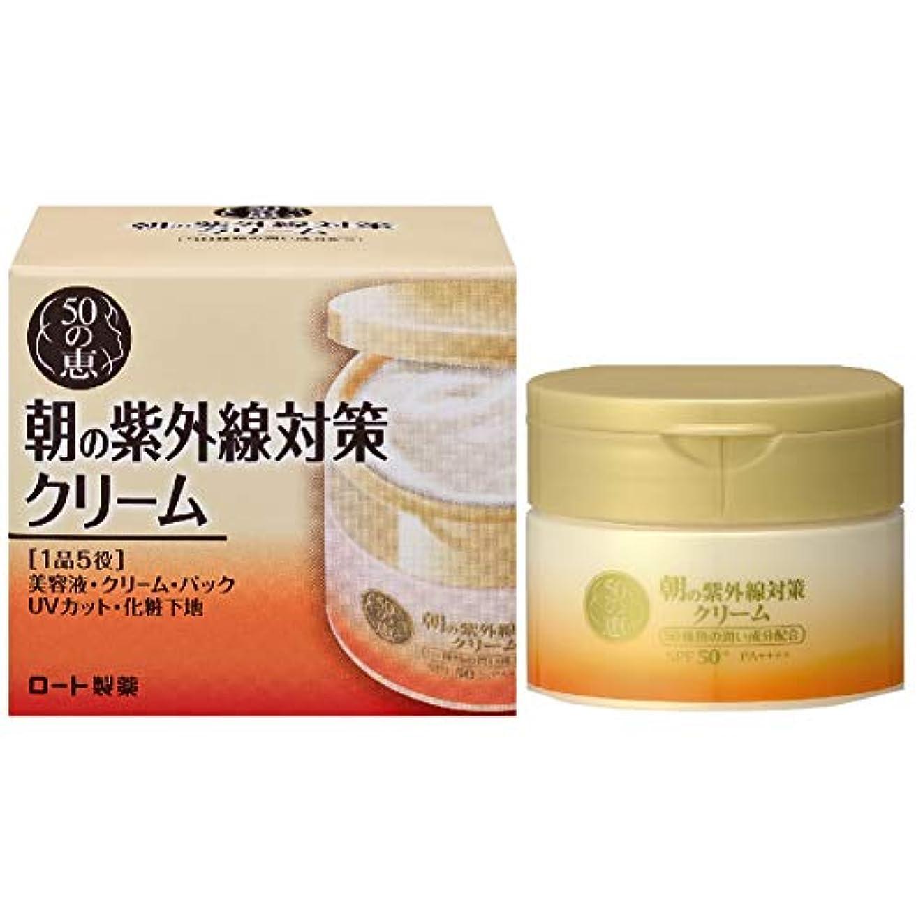 バクテリア破裂ピースロート製薬 50の恵エイジングケア 朝の紫外線対策クリーム 養潤成分50種類配合オールインワン SPF50+ PA++++ 90g
