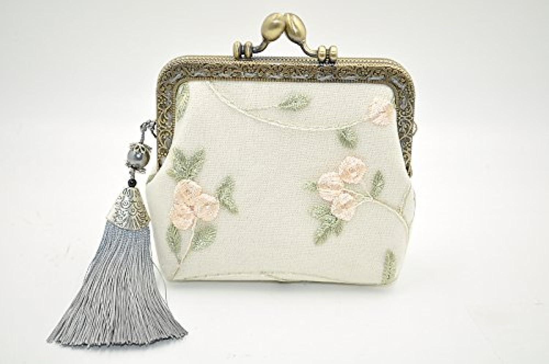 Relax -Breath アンティークがま口 手作り小銭入れ 財布 アクセサリー入れ 刺繍花 レース タッセル付き  ベージュ