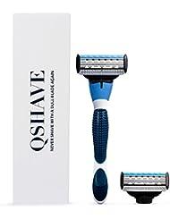 QSHAVEのブルーシリーズ、男性用マニュアルシェービングカミソリは替刃X5 (5枚刃)のカートリッジが。 (本体+替刃2コ付)