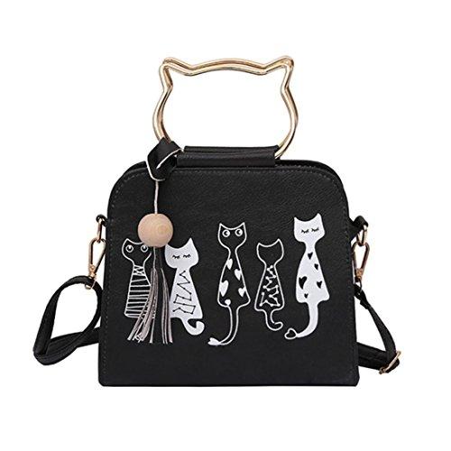 人気 両用 3色 かわいい 猫 フリンジのある 手提げバッグ...