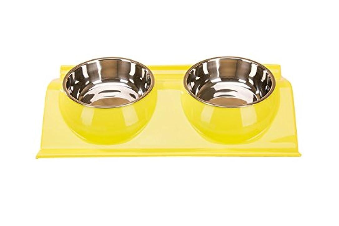 可愛い 滑り止め付き 犬 猫 ペット食器 皿 3色 3型 S~Lサイズから選べる (S, Aイエロー)