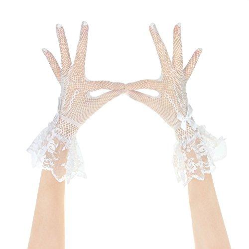 (Baoxinjp)可愛い レディース手袋 ショートグローブ リボン ドレス手袋 ウエディング 結婚式 二次会 パーティードレス用 花嫁用品 フリーサイズ ホワイト