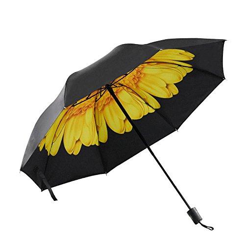 折りたたみ傘 晴雨兼用 日傘 花柄 レディース UVカット99% 遮光 遮熱 大型 96cm 8本骨 (イエロー)