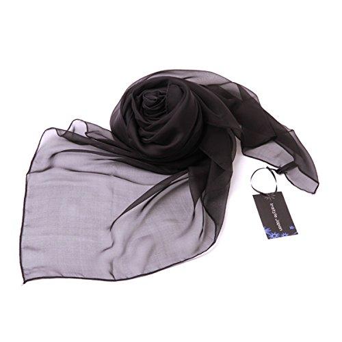 シルク100%スカーフ小さめ【SSサイズ】65×50cmバンダナバッグネッカチーフポケットチーフ首もと暖か選べる11色(ブラック)黒絹UV防寒シフォン天然素材[InstyleJapan]