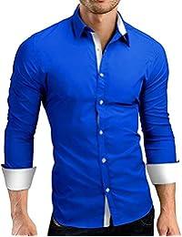 Fly Year-JP メンズファッションスリムドレスシャツカジュアルロングスリーブボタンダウンシャツ