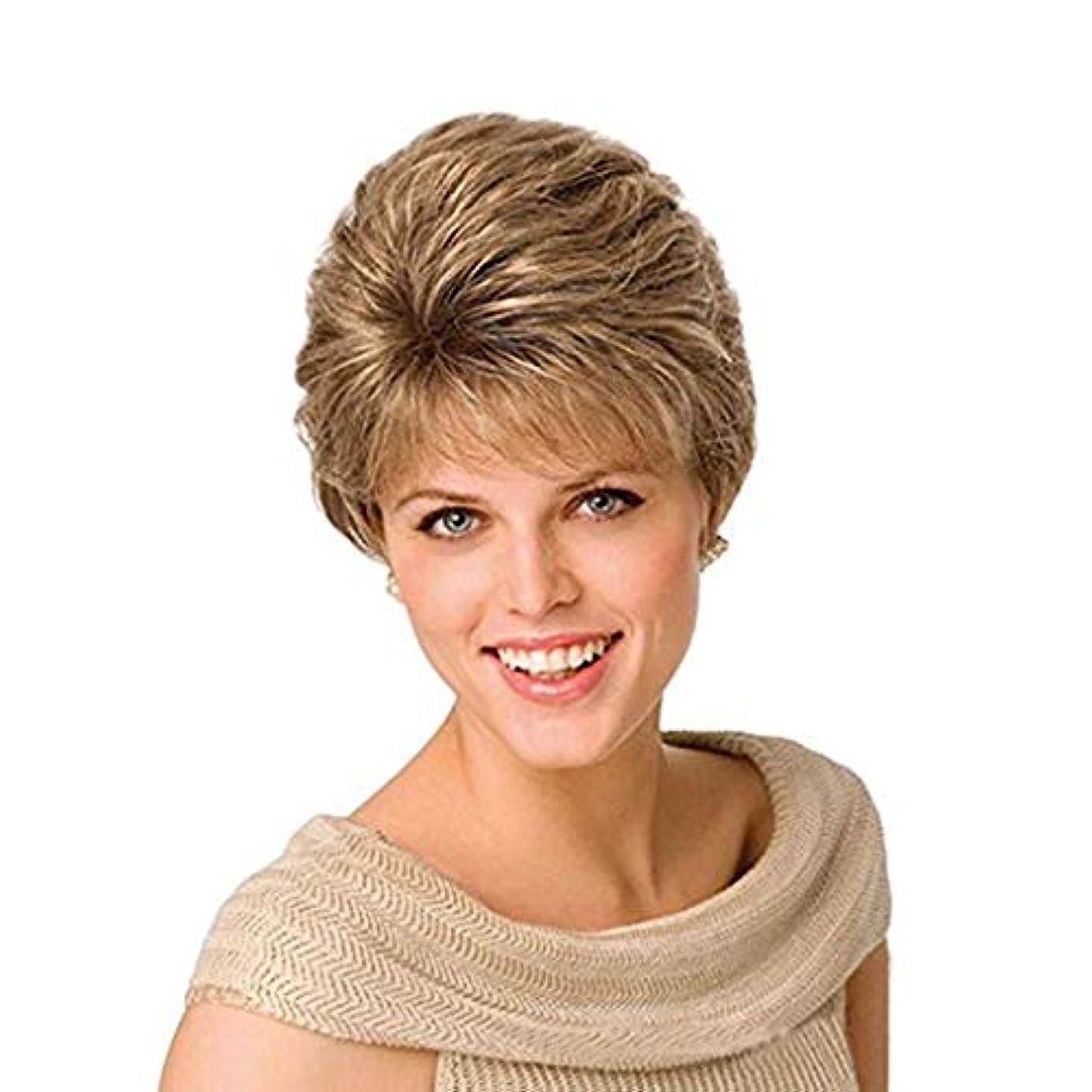 スキムバッグ露かつらレディースショートストレートヘア高温化学繊維シルクウィッグヘッドギアゴールドウィッグ