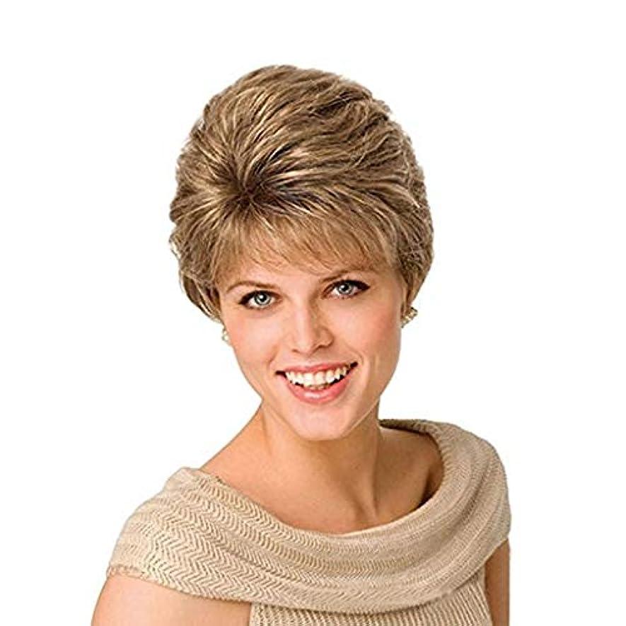 超音速揺れる休日かつらレディースショートストレートヘア高温化学繊維シルクウィッグヘッドギアゴールドウィッグ