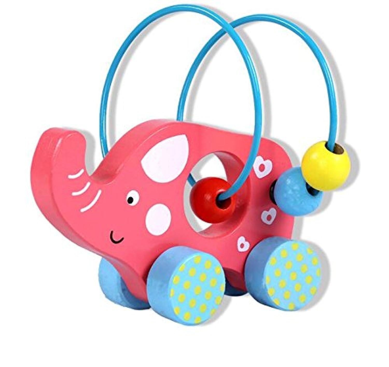 HuaQingPiJu-JP 愛らしい木製のアバカスサークルのおもちゃ教育学的ビーズ迷路子供たちのためのクリエイティブギフト(象)