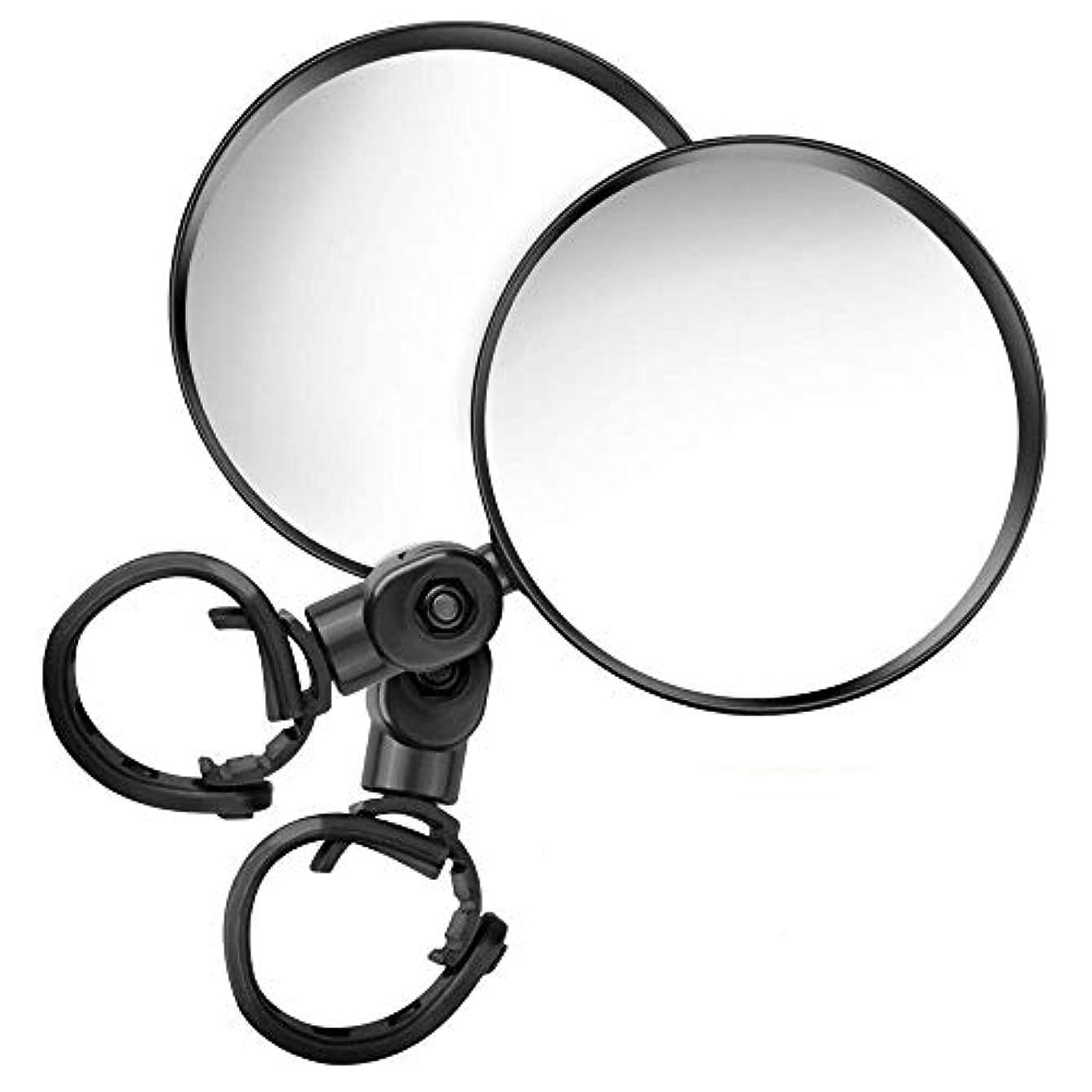 泥だらけ達成する利益サイクリングミラー バイクミラー 360度回転 調節可能 高解像度 丸型 凸面 取り付け簡単 左右兼用 最新進化版 事故防止 広視野角 2個セット ブラック