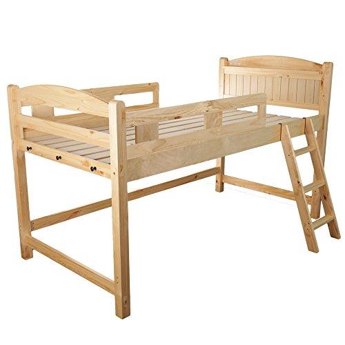木製ロフトベッド シングル 棚コンセント2口付/ナチュラル