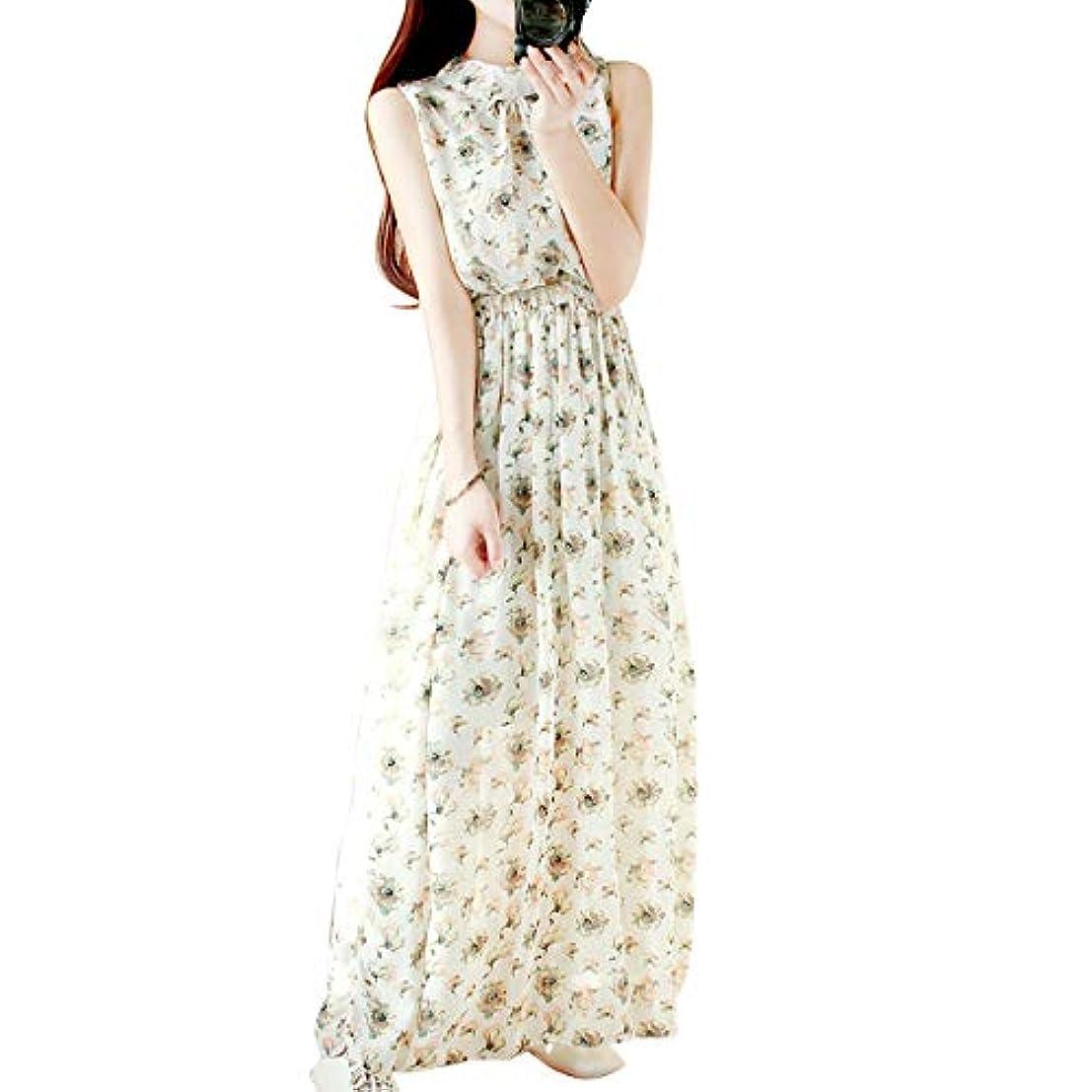 ロードされたブロー抵抗する[ココチエ] ワンピース ロング 花柄 シフォン ノースリーブ 半袖 かわ いい リゾート ホワイト ブラック