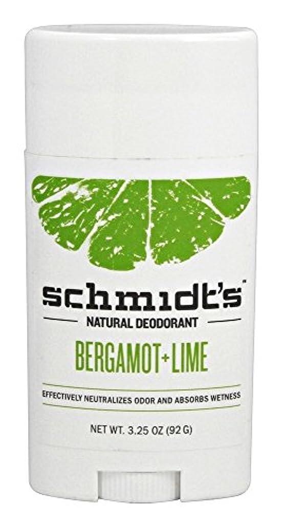 思いやりのあるだます純正Schmidt's Deodorant Stick BERGAMOT + LIME 3.25 oz シュミッツ デオドラント ベルガモット ライム 92g [並行輸入品]
