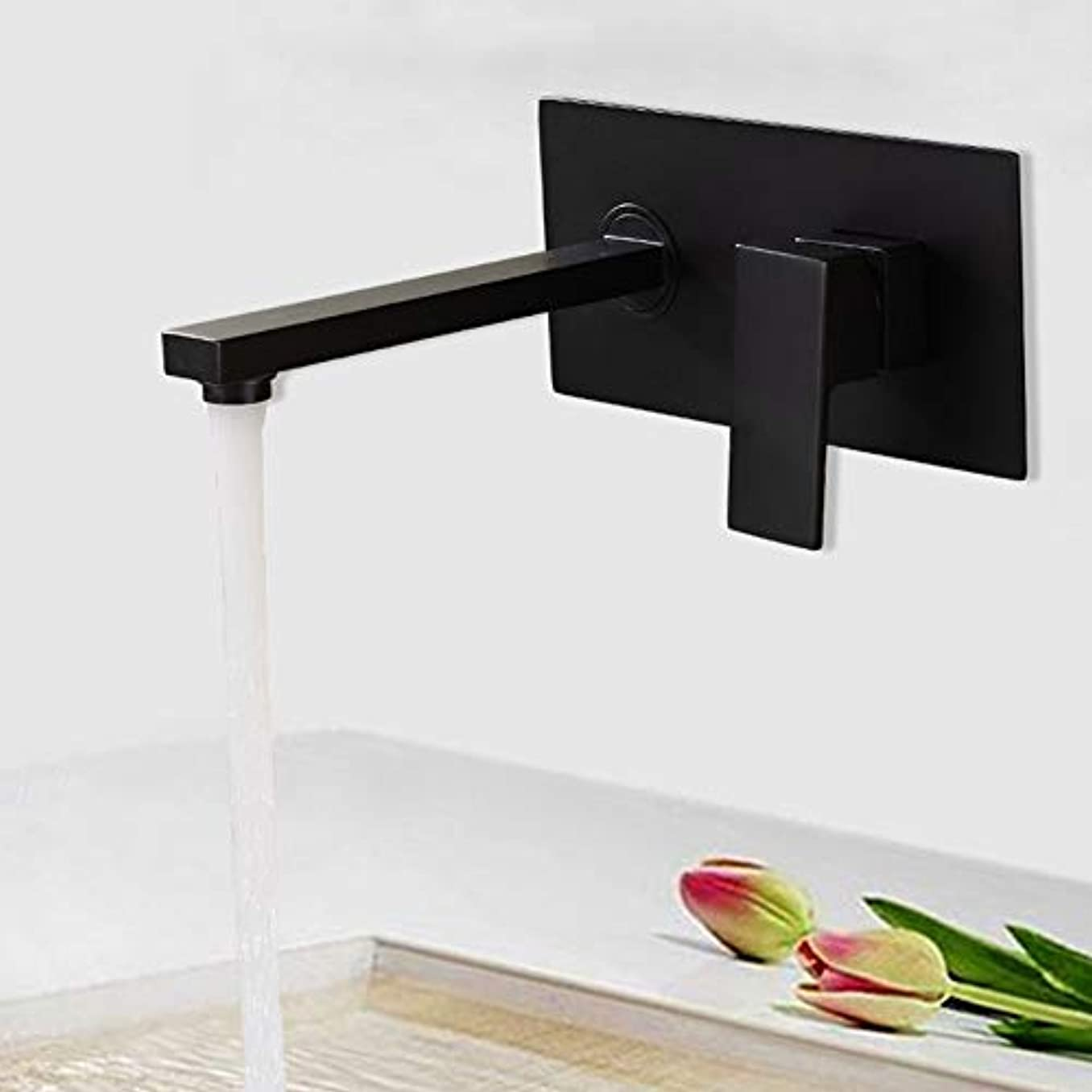でも敏感なハック黒ビルトイン蛇口、金属銅サンディングヘッド、壁掛け式洗面台、浴室用蛇口 作りが精巧である