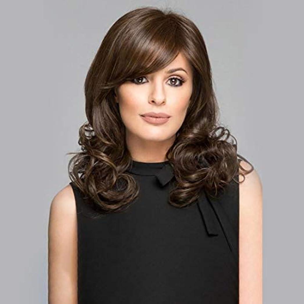 アプライアンス広まった発症Kerwinner 斜め前髪カールかつら自然な長い長い波状の耐熱性の交換かつら女性のための完全な合成かつら