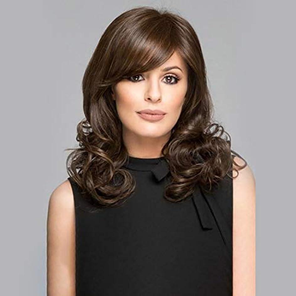 寛大さ寛大さサポートKerwinner 斜め前髪カールかつら自然な長い長い波状の耐熱性の交換かつら女性のための完全な合成かつら