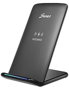 iPhone8 Qiワイヤレス充電器 急速 2つのコイル Seneo ワイヤレスチャージャー iPhone 8 /iPhone 8 Plus/iPhone X, Galaxy S9 /S9 PlusなどのQi対応機種 USBケーブル付 (ブラック)
