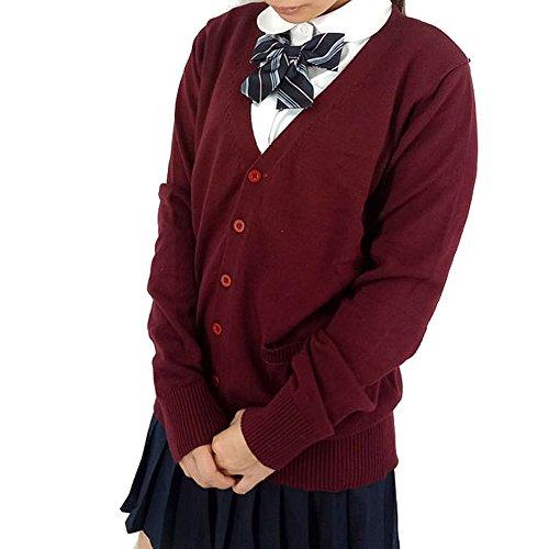 DRASAWEE(JP)ニットカーディガン Vネック 女子高生 スクールカーディガン 制服 無地 ゆったり 定番 オールシーズン (ワインレッド L)