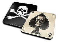コースター2枚セット:ゴシック–スペードのエースwithスカル+ Skull And Crossbones (4x 4インチ)