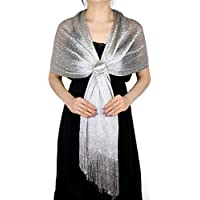 LMVERNA Sparkling Metallic Shawls and Wraps for Evening Dresses Wedding Fringed Shawl Wrap Scarf for Women