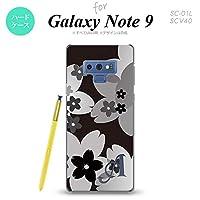 SC-01L SCV40 Galaxy Note9 スマホケース カバー 花柄・サクラ 黒 ブラック 【対応機種:Galaxy Note9 SC-01L SCV40】【アルファベット [V]】