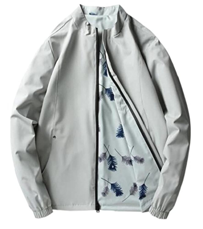 chenshiba-JP メンズ軽量花柄ジャケットコートダブルサイドウェア