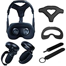 VR Accessories ,Head Cushion & Face Cover & Touch Controller Grip Cover & Knuckle Strap & Lens Protect Cover Set for Oculus Quest, Professional Silicone Protection Accessories,5-Piece Set (Black)