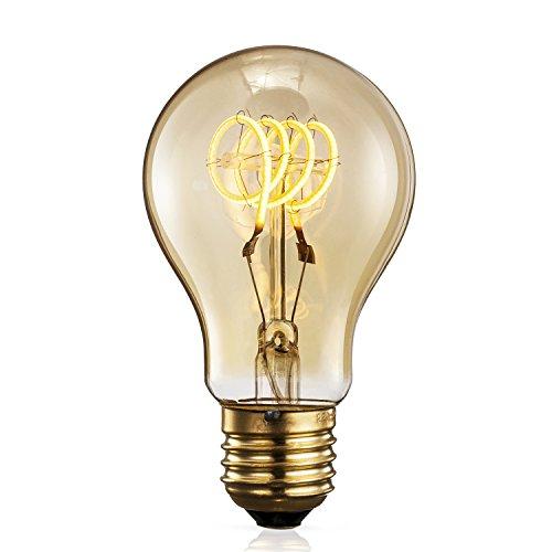 RoomClip商品情報 - TRANSTEC® Edison Bulb エジソンバルブ型 スパイラル フィラメントLED電球 口金E26 交流100-120V 電球色 ゴールドガラス電球 広い調光範囲 器具装飾用 (A60 スパイラル, 4w)