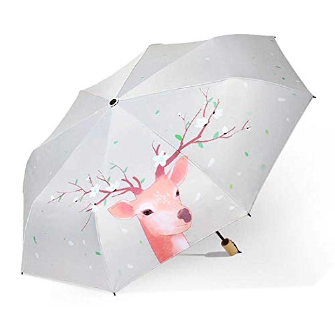 排除する安いです所有者HOHYLLYA 日光傘女性ライトカラー屋外傘防水紫外線保護雨傘鹿パターン傘 sunshade (色 : ホワイト)
