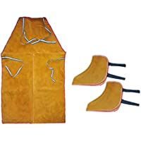 shamjina 1 Pair Leather Welder Welding Protective Shoes Cover &Apron