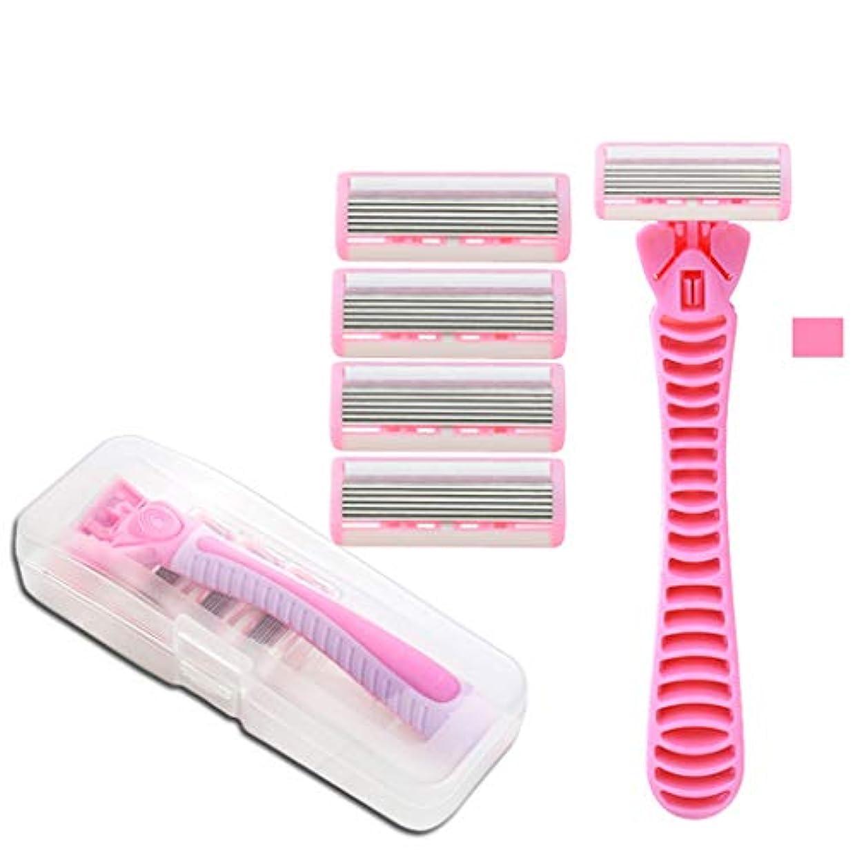 ガス木ひも脇の下および足の根のために適した男女兼用シェービングナイフの女性の毛の取り外しのナイフ,Pink