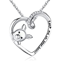 Clearine Women 925 Sterling Silver Cubic Zirconia Engraved Keep Me in Your Heart Cute Pig Pendant Necklace Clear