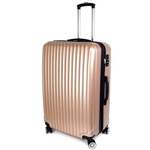 【神戸リベラル】 LIBERAL 軽量 拡張ファスナー付き S,M,Lサイズ スーツケース キャリーバッグ 8輪キャスター TSAロック付き (Lサイズ(長期用 85/95L), ゴールド)