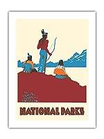 国立公園 - ネイティブアメリカン - ビンテージな世界旅行のポスター によって作成された ドロシー・ワー c.1935 -プレミアム290gsmジークレーアートプリント - 46cm x 61cm
