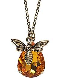 GuDeKe レディース ジュエリー アクセサリー ブロンズ 昆虫 ミツバチ ドロップ ペンダント 11月 オレンジ トパーズ 誕生石 ネックレス