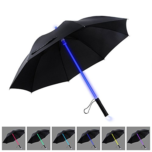 YIER 長傘 光る傘  旅行傘 紳士傘 耐風傘 LED 7色 メンズ 子供用 梅雨対策 夜間対応 ブラック