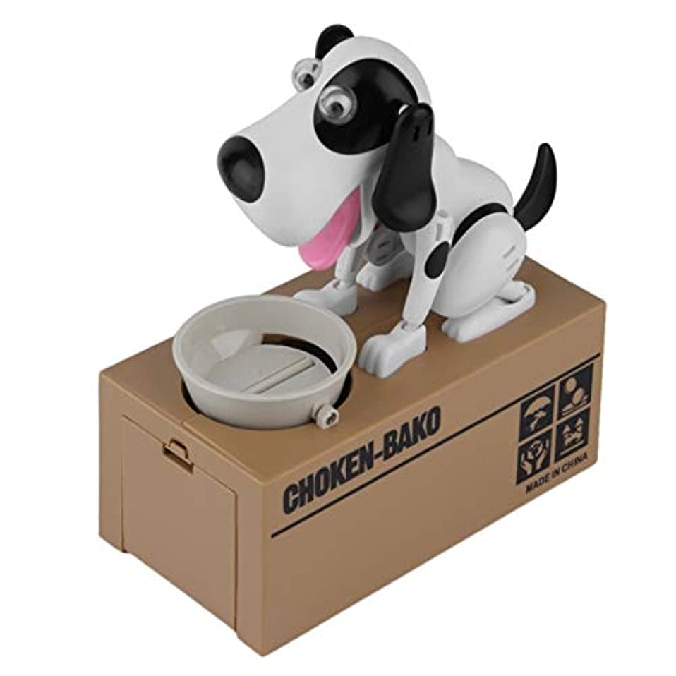 シビック接辞端Saikogoods 耐久性に優れたロボット犬貯金箱自動コインマネーバンクかわいい犬モデルマネーバンクマネーセービングボックスコインボックスを盗みました 黒+白