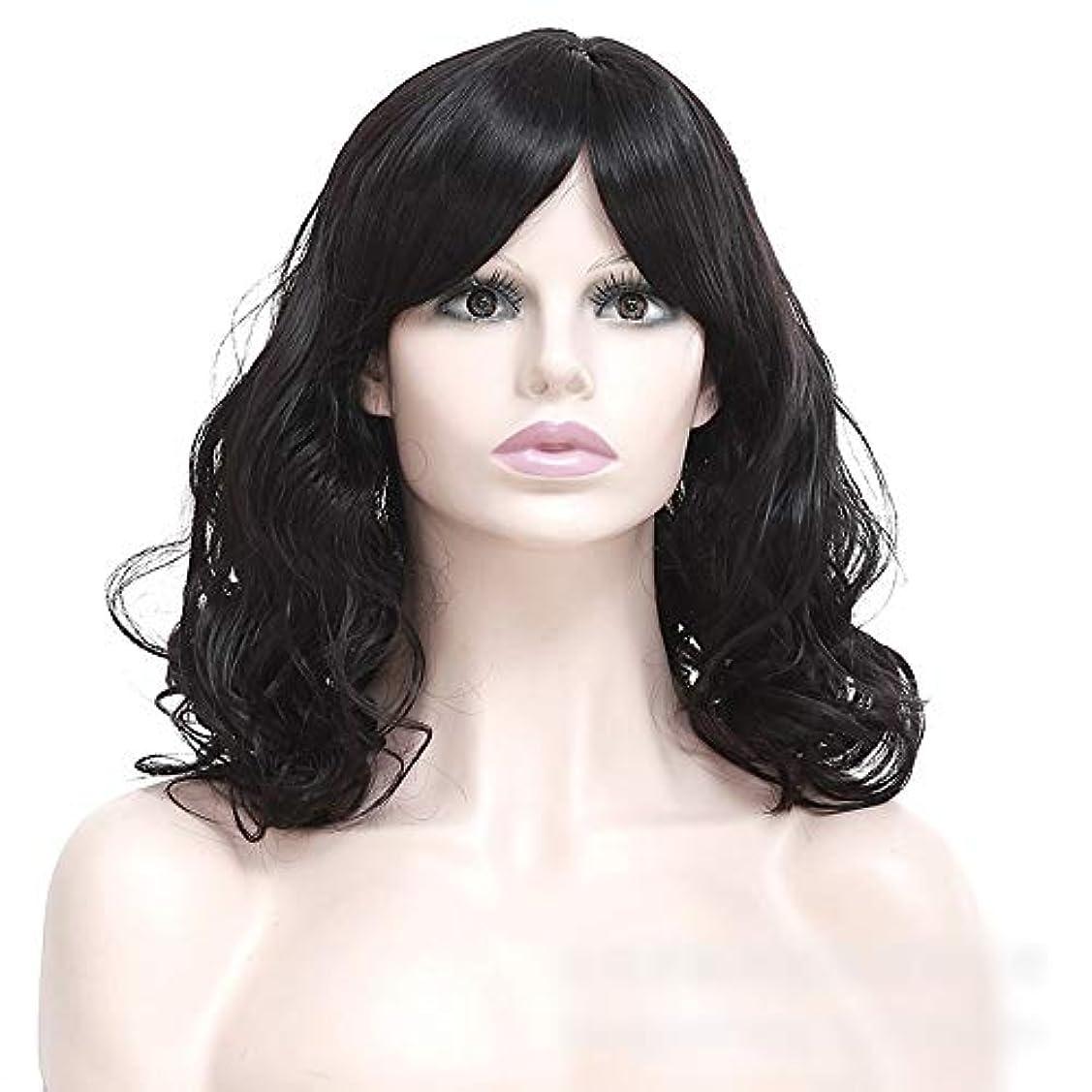 オーチャードラウンジセラフWASAIO 女性の短い巻き毛のかつら髪黒ふわふわの短い巻き毛 (色 : 黒)