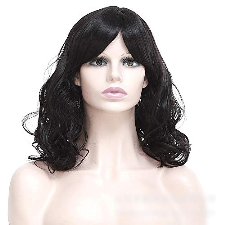朝信頼性のあるラフレシアアルノルディWASAIO 女性の短い巻き毛のかつら髪黒ふわふわの短い巻き毛 (色 : 黒)